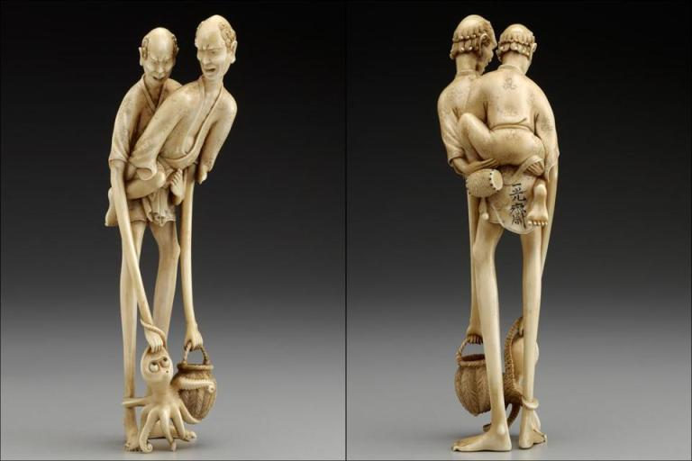 """Long-Legged Man and Long-Armed Man Cooperating to Catch an Octopus,"" netsuke by unknown Japanese artist, Yale University Art Gallery (BostonGlobe.com)"