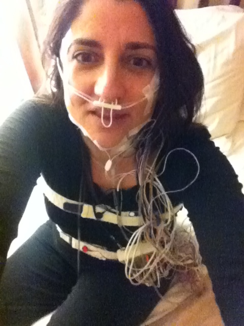 selfie during my sleep study, January 2012