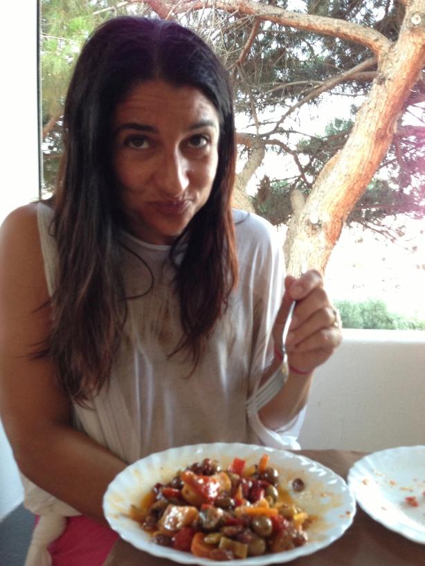 yum! that's good. Eggplant caponata, island of Salina, Sicily.