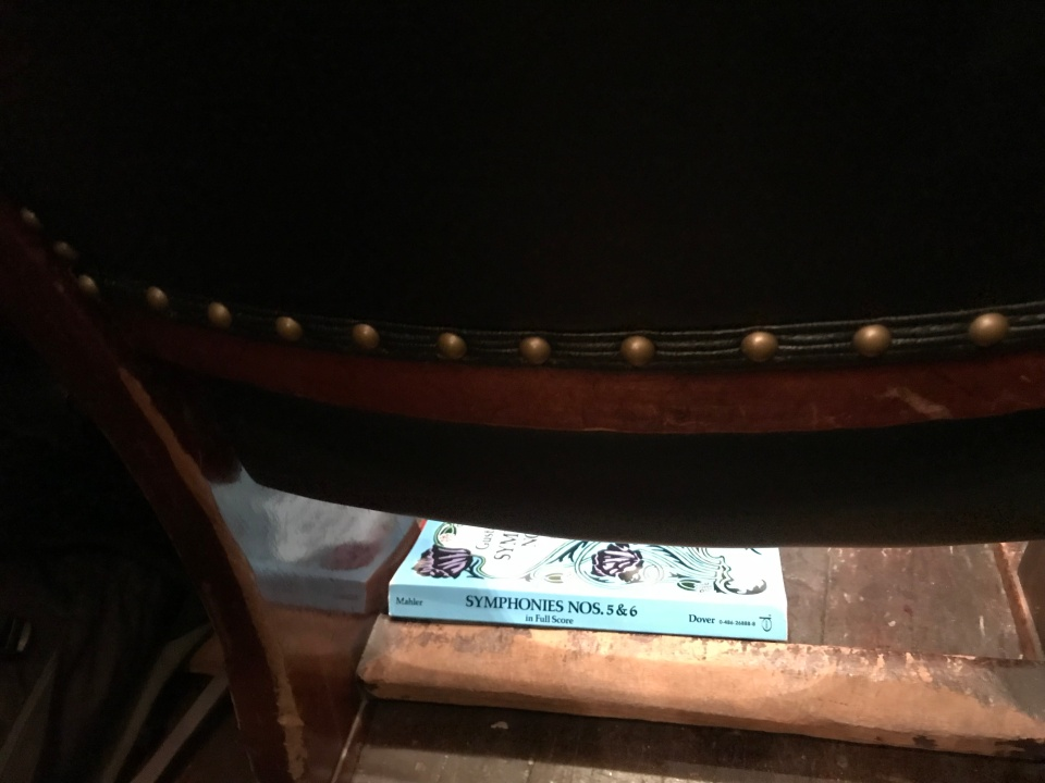Mahler score for his symphonies 5 & 6, spotted under the seat in front me